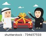 saudi woman or arab girl being... | Shutterstock .eps vector #734657533