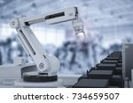 3d rendering robot arm working... | Shutterstock . vector #734659507