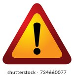 red triangle warning alert sign ... | Shutterstock .eps vector #734660077