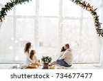 christmas and new year 2018. a... | Shutterstock . vector #734677477