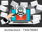 concept of virus  piracy ...   Shutterstock .eps vector #734678083
