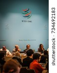 Small photo of GENEVA, SWITZERLAND - OCTOBER 1, 2014: WTO Public Forum, the largest annual outreach event providing platform for participants to discuss the latest developments in world trade