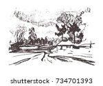vector illustration of a rural... | Shutterstock .eps vector #734701393
