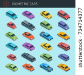 isometric cars collection with... | Shutterstock .eps vector #734714377