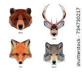 vector polygonal animals set... | Shutterstock .eps vector #734730217