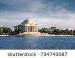 jefferson memorial in evening ... | Shutterstock . vector #734743087