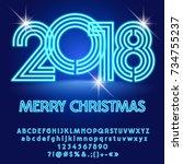 vector modern light bulb merry...   Shutterstock .eps vector #734755237