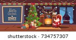 merry christmas and happy new... | Shutterstock .eps vector #734757307