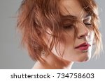dream life. creative hairstyle... | Shutterstock . vector #734758603