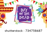 day of dead traditional mexican ... | Shutterstock .eps vector #734758687