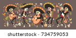 Stock vector day of dead traditional mexican halloween dia de los muertos holiday party decoration banner 734759053