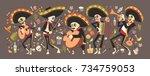 Stock vector day of dead traditional mexican halloween dia de los muertos holiday party decoration banner 734759053