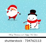 santa claus and snowman with a