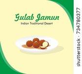 gulab jamun vector. indian... | Shutterstock .eps vector #734780377