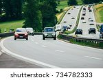 highway cars and countryside | Shutterstock . vector #734782333