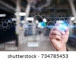 gears on virtual screen....   Shutterstock . vector #734785453