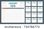 calendar for 2018 starts sunday | Shutterstock .eps vector #734786773