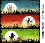halloween backgrounds set ... | Shutterstock .eps vector #734788663