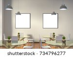 two blank square posters mock... | Shutterstock . vector #734796277
