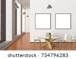 two blank square posters mock... | Shutterstock . vector #734796283
