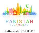 pakistan travel landmarks.... | Shutterstock .eps vector #734808457