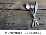 cutlery set fork spoon and... | Shutterstock . vector #734815513