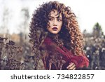 outdoor lifestyle fashion photo ... | Shutterstock . vector #734822857