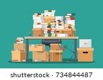 pile of paper documents and... | Shutterstock .eps vector #734844487