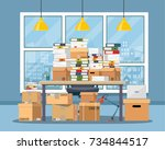 pile of paper documents and... | Shutterstock .eps vector #734844517