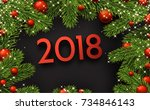 new year 2018 background with... | Shutterstock .eps vector #734846143