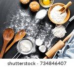 baking ingredients. bowl  eggs  ... | Shutterstock . vector #734846407