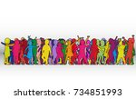 vector silhouette of children... | Shutterstock .eps vector #734851993
