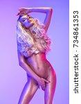 blonde beautiful woman in the...   Shutterstock . vector #734861353