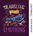 travel. vector hand drawn...   Shutterstock .eps vector #734861407