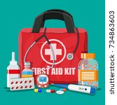 medical first aid kit with...   Shutterstock .eps vector #734863603