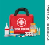 medical first aid kit with... | Shutterstock .eps vector #734863627