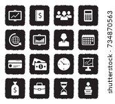 business icons. grunge black... | Shutterstock .eps vector #734870563