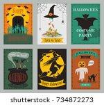 vector collection of halloween...   Shutterstock .eps vector #734872273