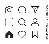 simple social media icon set ... | Shutterstock .eps vector #734874547