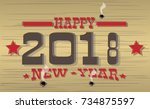 2018 happy new year western | Shutterstock .eps vector #734875597