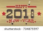 2018 happy new year western | Shutterstock .eps vector #734875597