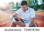 tennis. young tennis player... | Shutterstock . vector #734878783