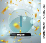 glass trophy award. first place ... | Shutterstock .eps vector #734882203