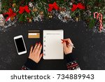 christmas wish list writing.... | Shutterstock . vector #734889943