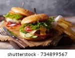 fresh grilled beef burger and... | Shutterstock . vector #734899567
