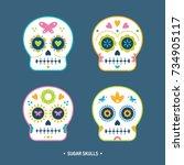 sugar skulls day of the dead... | Shutterstock .eps vector #734905117
