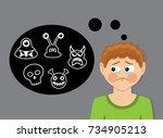 the boy with tears represents... | Shutterstock . vector #734905213