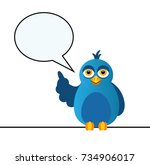 a blue bird sits on the wire... | Shutterstock . vector #734906017