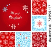 snowflake patterns vector... | Shutterstock .eps vector #734908447