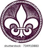 fleur de lis vintage style...   Shutterstock .eps vector #734910883